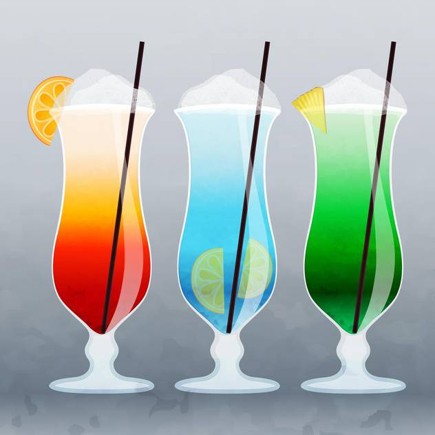 vector illustration of alcohol summer colorful cocktails on grey background - vector gratuit #130660