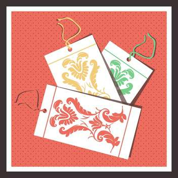 vector illustration of floral tags set - vector gratuit #130720