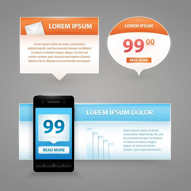 speech bubbles and banners with mobile phone - Free vector #130740