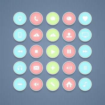 round shaped communication icons on blue background - vector gratuit #130750