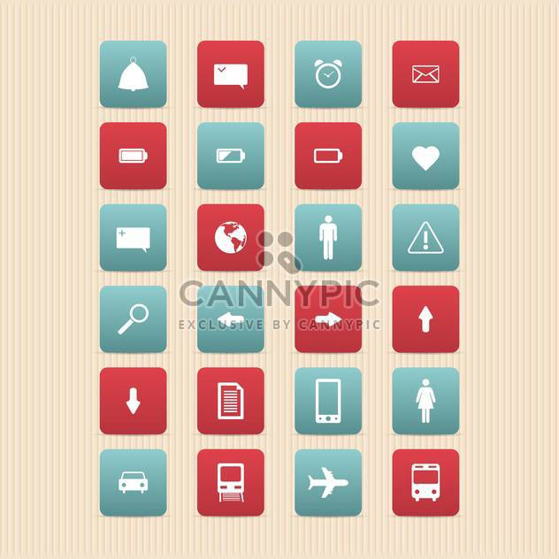 vector illustration of web icons set on beige background - Free vector #130760