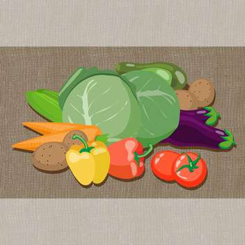 colorful illustration of fresh vegetables on brown background - бесплатный vector #130800