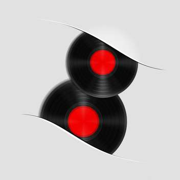 Two vinyl records on grey background - vector gratuit #130830