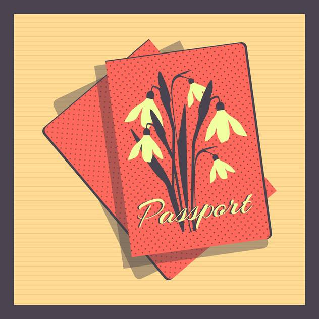 Retro style passport cover vector illustration - бесплатный vector #131020