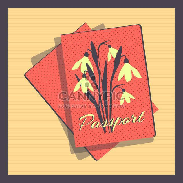 Retro style passport cover vector illustration - Free vector #131020