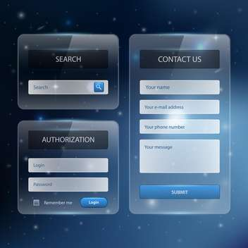 Web site design template navigation elements with icons set - vector gratuit #131060