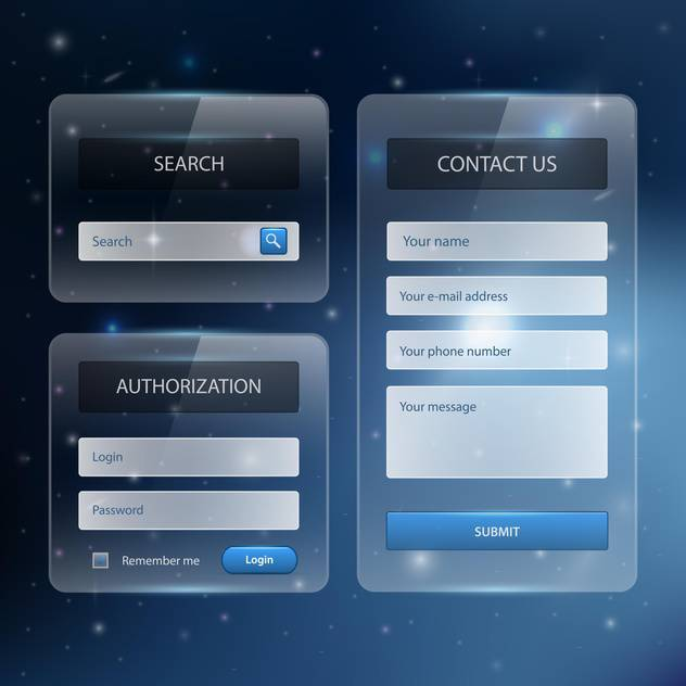 Web site design template navigation elements with icons set - бесплатный vector #131060