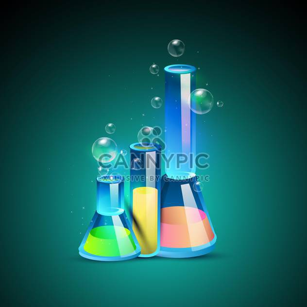 Three laboratory bottles vector illustration - Free vector #131090