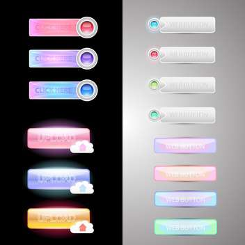 Web colorful buttons set - Free vector #131100