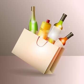 Wine bottles in gift bag vector illustration - Free vector #131120