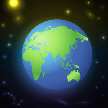 Earth in open space view vector illustration - Kostenloses vector #131190