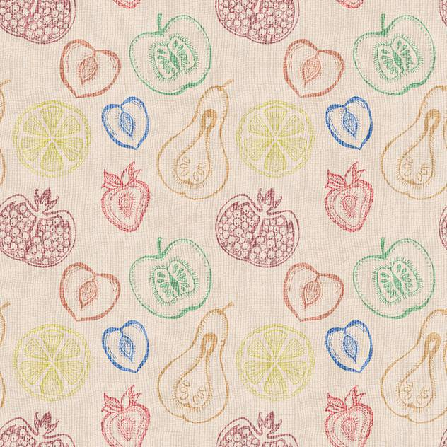 Cute fruits seamless vector background - vector gratuit #131200