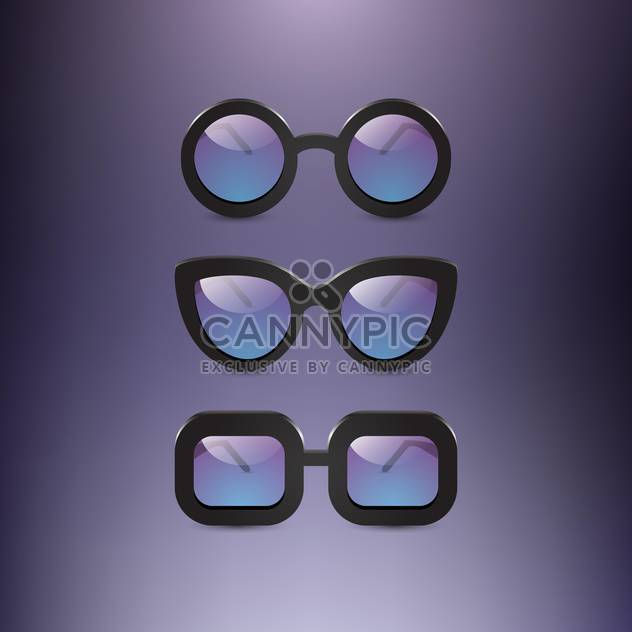 collection of oldschool glasses on grey backround - Free vector #131300