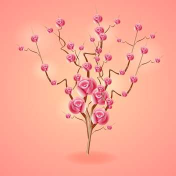 Pink card with rose tree vector illustration - Kostenloses vector #131490