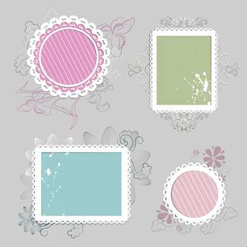Collection of floral retro grunge labels, banners and emblems with an empty seat for text - vector gratuit #131610