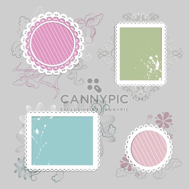 Collection of floral retro grunge labels, banners and emblems with an empty seat for text - vector #131610 gratis