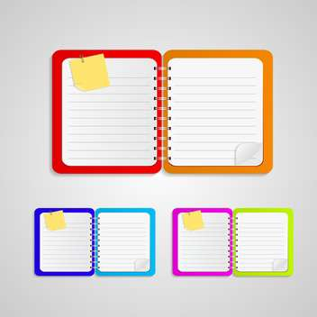 Vector notepad paper set on grey background - бесплатный vector #131620