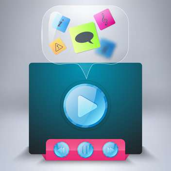 Media player vector icon on grey background - vector gratuit #131710
