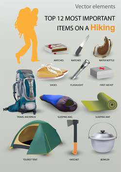 Top 12 most important items on a hiking - vector gratuit #131720