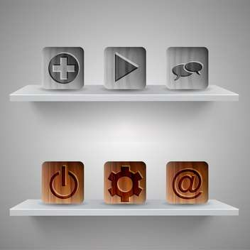 Different web icons on shelves on grey background - бесплатный vector #131730