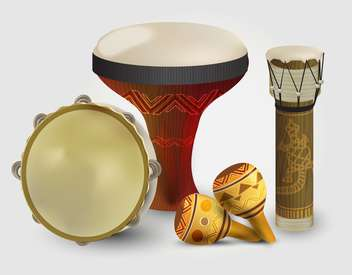 Percussion drums collection on white background - Free vector #131770