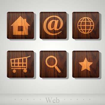 Vector set of web wooden icons - vector gratuit #131780