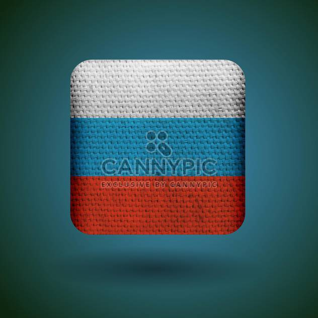 Russia flag with fabric texture vector icon - Free vector #131810