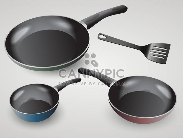 Vector set of frying pans on grey background - Free vector #131820