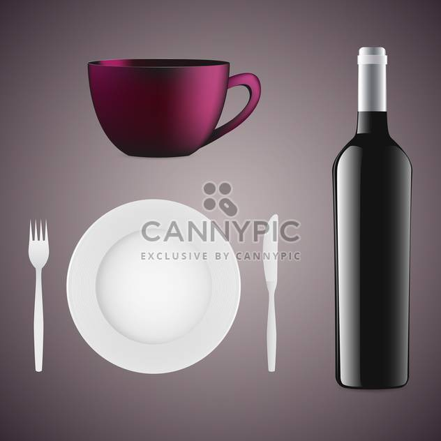 Bottle of wine, cup, plate and cutlery on grey background - Free vector #131950