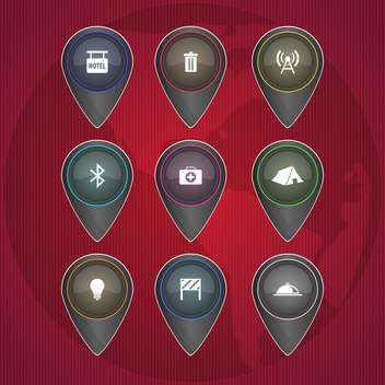 Vector icons with leisure signs on red background - Free vector #131990