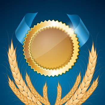 Vector golden medal with wheat on blue background - бесплатный vector #132040