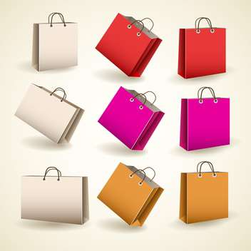 Vector set of colored paper bags - vector gratuit #132050