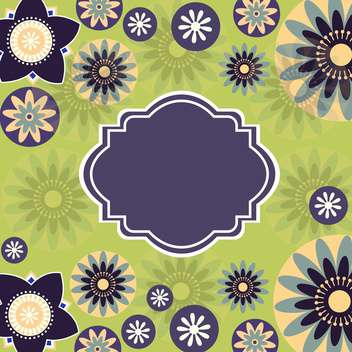 Vintage frame on green floral background - vector gratuit #132080