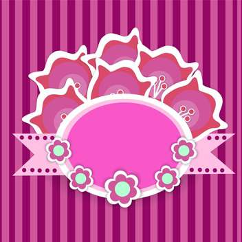 Vector floral frame on pink striped background - vector gratuit #132090