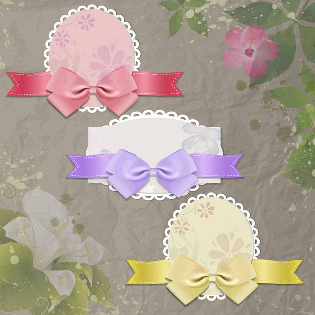 Vector vintage frames with bows on floral background - vector gratuit #132110