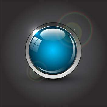 Blue round web button on grey background - vector #132130 gratis