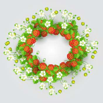 Vector strawberry wreath on grey background - vector gratuit #132150
