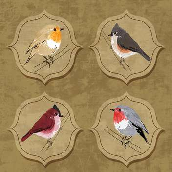 Vector illustration of little birds on grunge background - vector gratuit #132160