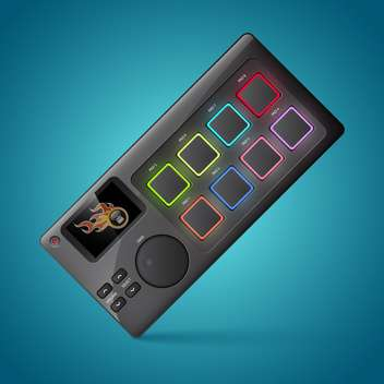 Vector drum machine on blue background - vector #132200 gratis