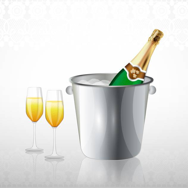 Full glasses and a bottle of champagne in a bucket with ice - vector gratuit #132230