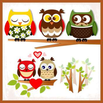 Set of five owls with various emotions on the branch,vector illustration - vector gratuit #132240