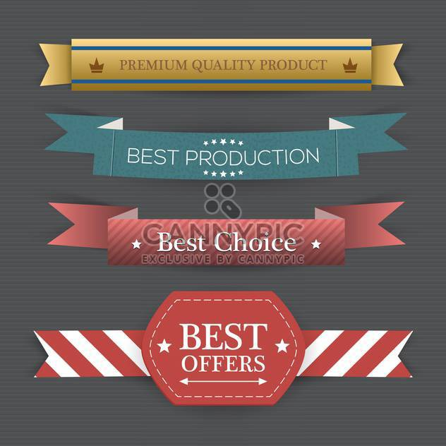 Vector set of retro colorful ribbons on gray background - Free vector #132320