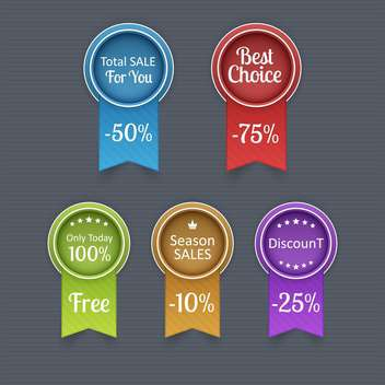 Sale tags with discount 10 - 75 percent text,vector illustration - vector #132330 gratis