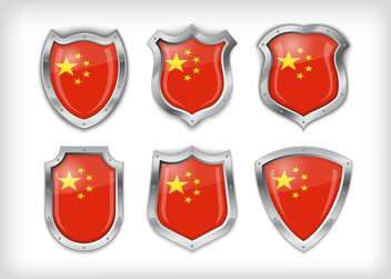 Different icons with flags of China,vector illustration - vector gratuit #132370