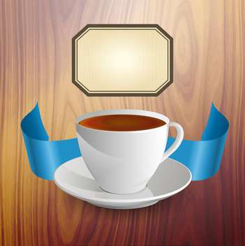 Wooden background with a cup of tea - Free vector #132430