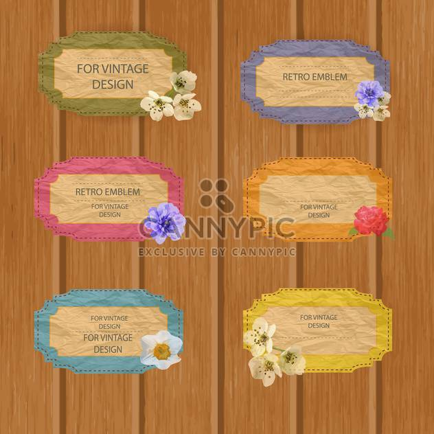 Vintage colorful frames with flowers on wooden background - Free vector #132450