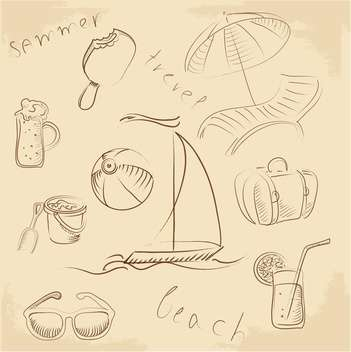 summer lounge doodles set - vector #132670 gratis