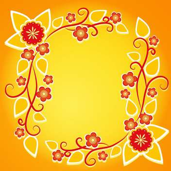 floral frame on orange vector background - vector gratuit #132810