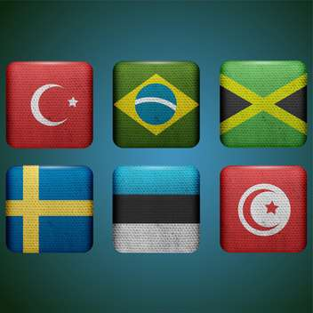 set of buttons with different country flags - vector #132860 gratis