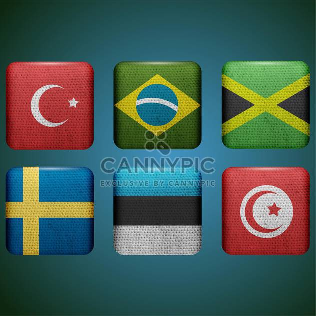 set of buttons with different country flags - Free vector #132860